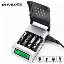 PALO 4 Slot Smart Display LCD Caricabatteria Per AA/AAA NiMH NI CD Batteria Ricaricabile Intelligente AA AAA Battery Charger