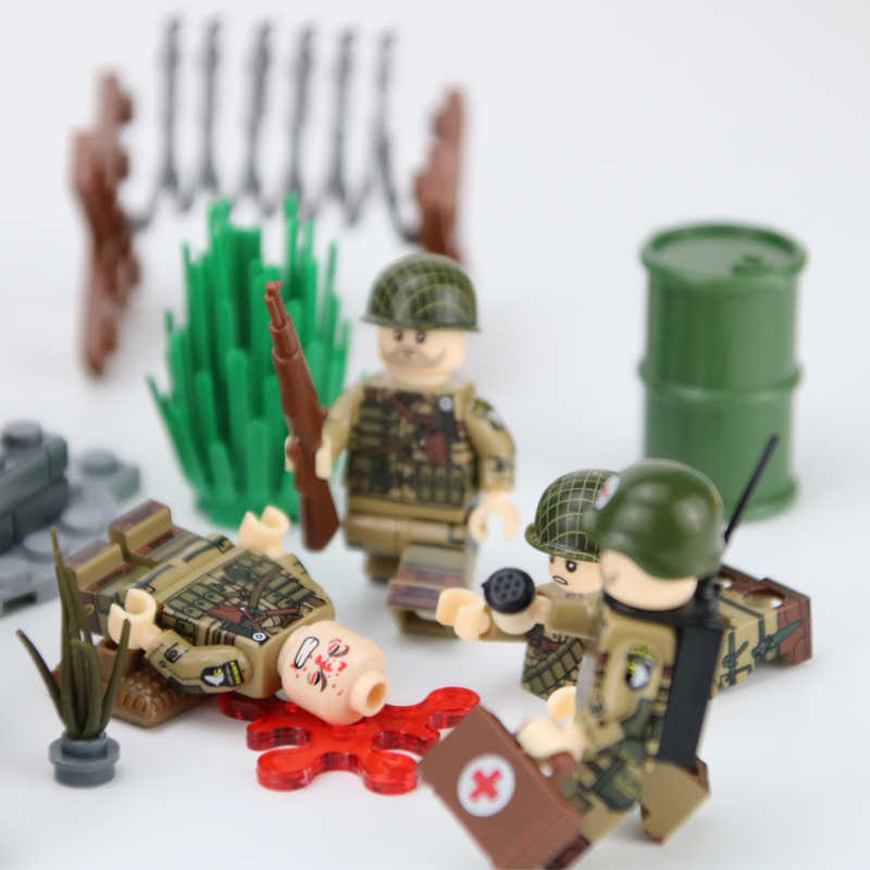 Military US Army Soldiers Figures Building Blocks Military Face Heads Injured Emotional Accessories Weapon Building Blocks Toys