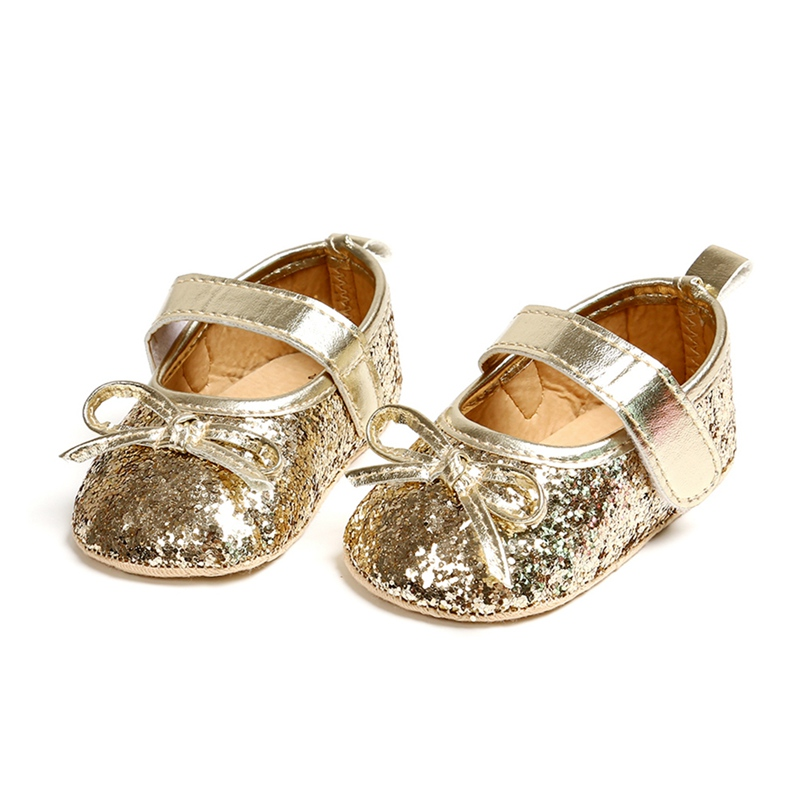 Spring 0-18M Baby Shoes Baby Shoes Girls Bowknot Shoes Bowknot Sequin Design Shoes  Baby Shoes In First Walkers