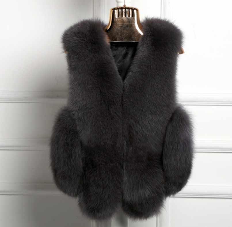2019 Vetement de invierno de las mujeres abrigo imitación de piel de zorro peludo chaleco peludo Plus tamaño abrigo Lolita Slim chaleco salvaje de peluche de juguete chalecos AW202