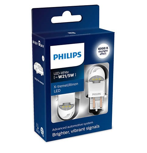 Lamp W21/5 W 12V-LED (W3x16q) 6000K 1,8/0,3W White-tremeUltinon LED Gen2 (PKG. 2 Pcs) PHILIPS 11066XUWX2