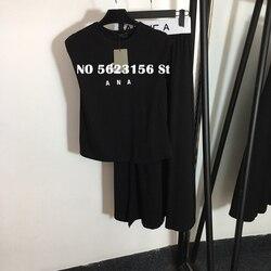 Frauen zwei stück outfits stickerei casual ärmellose pullover tops tees + hohe taille split rock sets frauen trainingsanzug set