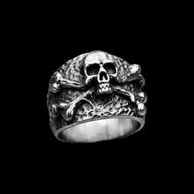 Dropshipping anillo de acero inoxidable de calavera de huesos cruzados Vintage detalle fino Punk Rock joyas de motorista para hombre regalo de fiesta OSR430