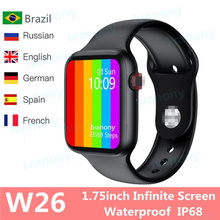 2020 IWO W26 Smart Watch Series 6 1.75 inch Infinite Screen ECG PPG Heart Rate M