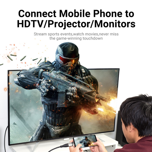 Vention USB C a HDMI adaptador USB tipo C Cable HDMI 4K 2,0 Convertidor para MacBook Samsung S10/S9 Huawei P40 Xiaomi tipo C a HDMI