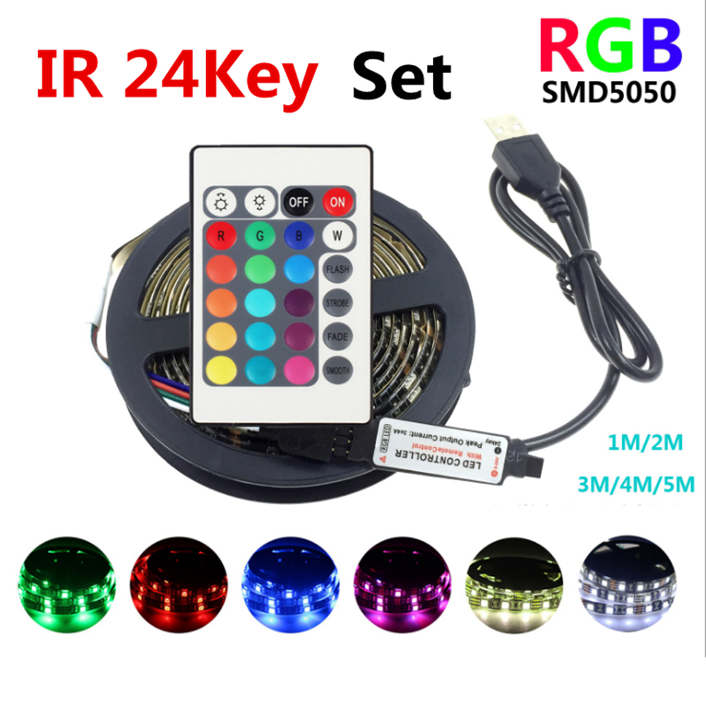 Usb Led Strip Light Rgb Tape Flexible Neon Tv Backlight Lights With IR 24 Key Remote Control Smd5050 DC 5v Diode Lamp For Party