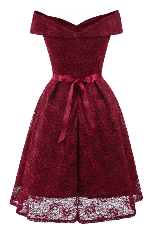 A-Line V Neck Off Shoulder Lace Knee-length Lace Bridesmaid Dress 8