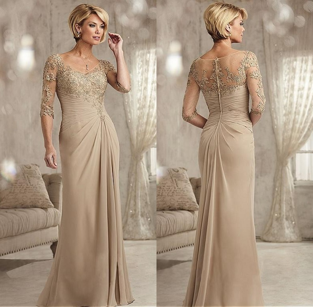 Champagne Mother Of The Bride Dresses Plus Size 3/4 Sleeves Lace  Beaded Long Wedding Party Dress Long Chiffon Evening Dress