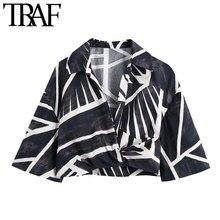 TRAF kobiety nadrukowana moda Crossover przycięte bluzki w stylu Vintage z krótkim rękawem boczny zamek błyskawiczny koszule damskie Blusas eleganckie koszule
