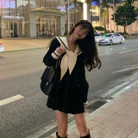 Hübsches Mädchen Sailor Sexy Sommer Schwarz Herbst Langarm Büro Casual Koreanische Mini Kleid Frauen Vestido Kleidung Gothic Robe Femme
