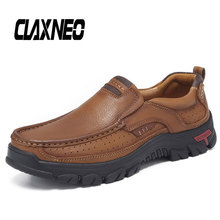 Buy CLAXNEO Man Shoes Slip on Autumn Male Loafers Genuine Leather Mens Walking Footwear Soft directly from merchant!