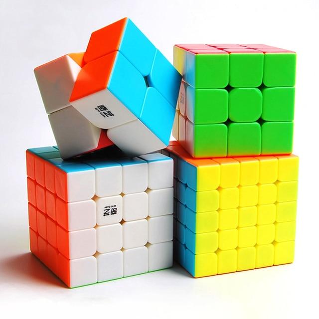 Qiyi Cube magique professionnel 2x2 3x3 4x4 5x5, Puzzle guerrier avec 2x2x2 3x3x3 4x4x4, jeu sans autocollants jouet de Cube