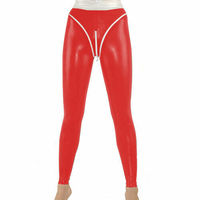 100% Latex Rubber Pants Sexy Red Tight Hip High Waist Pants Trousers Size S XXL