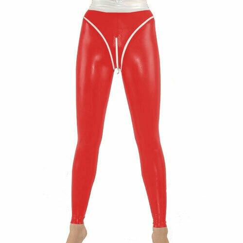 100% Latex caoutchouc pantalon Sexy rouge serré hanche taille haute pantalon pantalon taille S-XXL