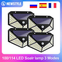 100/114 lampada solare a LED per esterni faretti ad energia solare impermeabili PIR sensore di movimento lampione per la decorazione del giardino 3 modalità