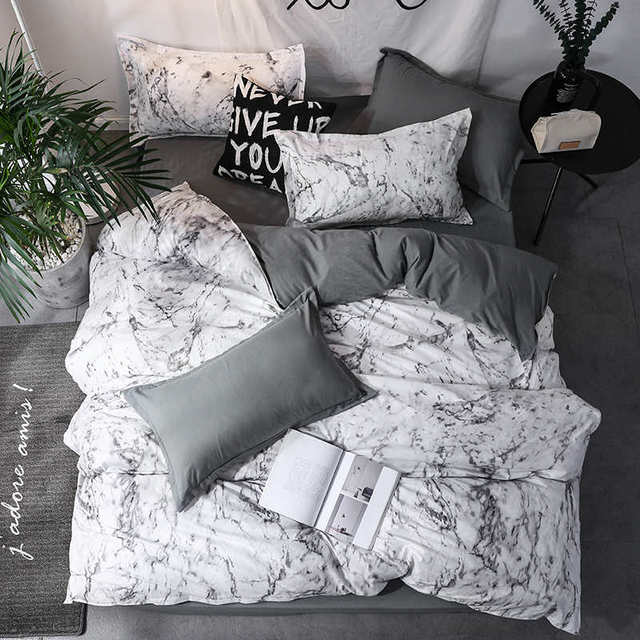 Duvet Cover And Pillow Case Grey White Marble