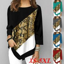 T camisa feminina primavera outono impresso costura manga longa t camisa senhoras casual em torno do pescoço mais tamanho topos XS-5XL