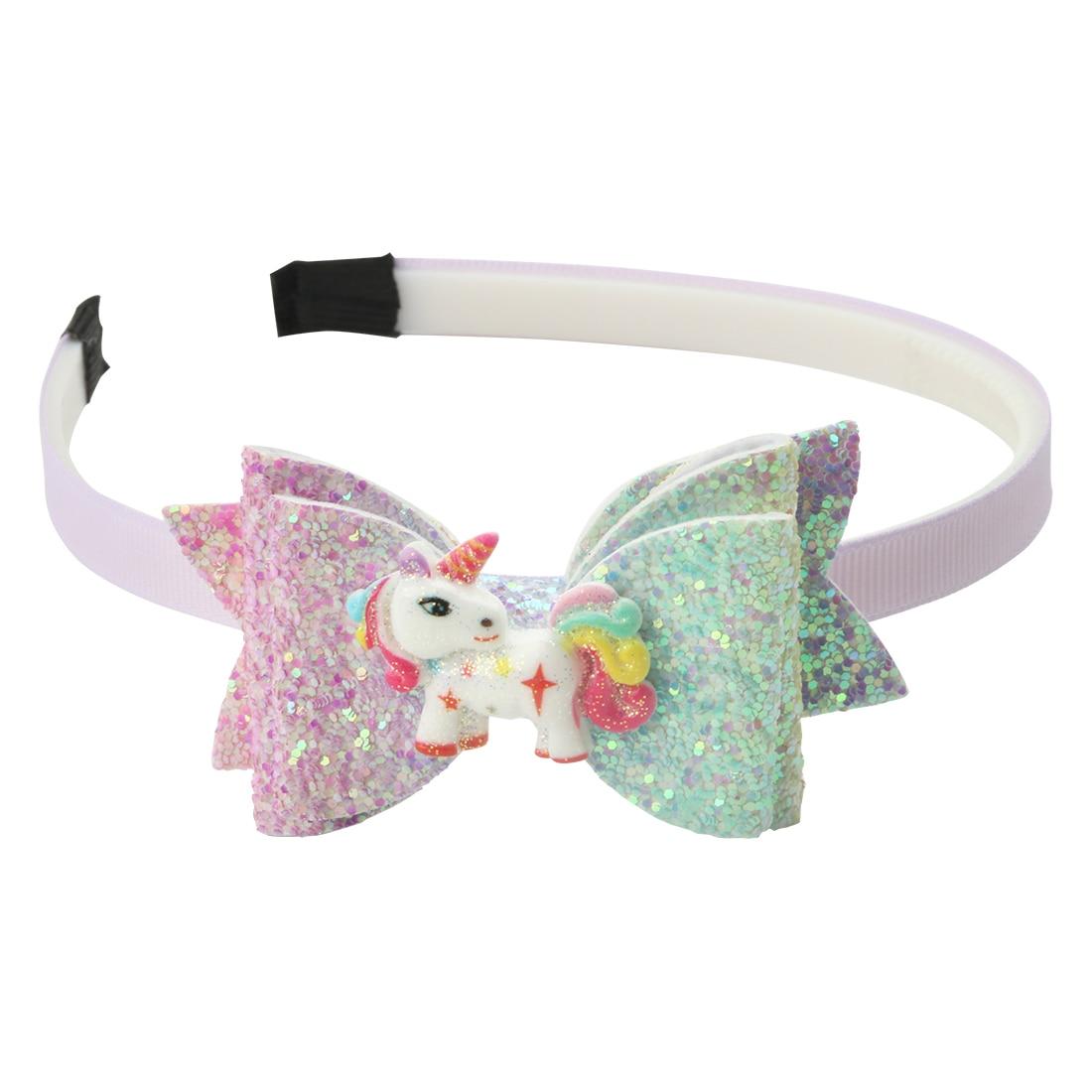 Baby Girl Christmas Unicorn Hair Band Headband Pink Glitter Bow Rainbow Unicorn