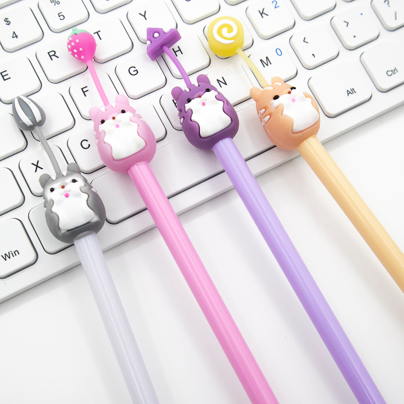 Cute Hamster Gel Pen Kawaii Black And Blue Ink 0.5mm Office Stationery School Supplies Colored Pen 1PCS