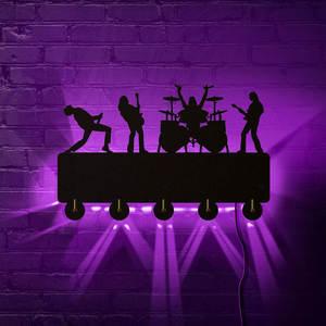 Image 3 - Rock band ganchos de parede luminosos led, decoração doméstica, banda de música, multicolor, casaco, chaveiro, presente para troca singer idol