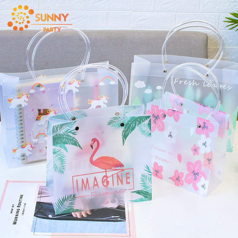 Simple Flamingo Plant Package Bag Cute Unicorn Tote Shopping Bags Child Birthday Gift Souvenir Packaging Bag Decoration Supplies