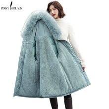 PinkyIsBlack-Chaqueta gruesa con forro de piel para mujer, Parkas largas con capucha para invierno
