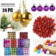 24pcs/lot 30mm Christmas Tree Ball Decoration Party Hanging Ornament Bauble Drop Pendant Xmas decorations for Home Gift^30(China)