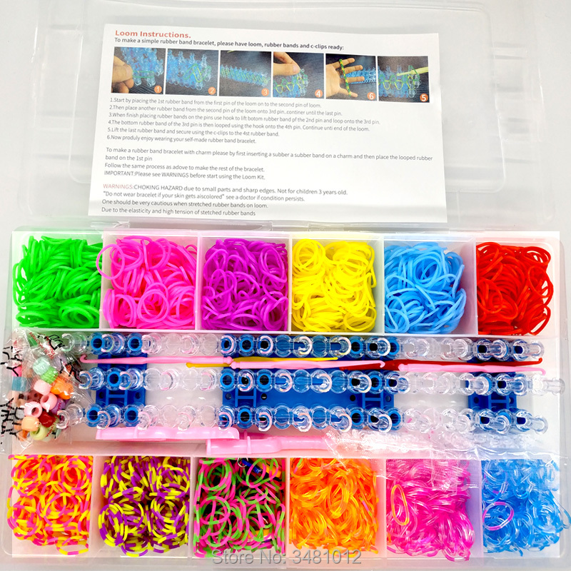 1800pcs Colorful Rubber Loom Bands Elastic DIY Set Box Girls Gift Weaving Bracelet Tool Kit Kids Toys For Children 7 8 10 Years