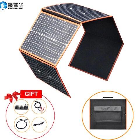 Bateria de Carro Usb para Celular Monocristalino Painel Solar Dobrável Célula Flexível 18v Home Kit Carregador Portátil 5v 12v rv Viagem Barco Caminhada Acampamento 100w 80w