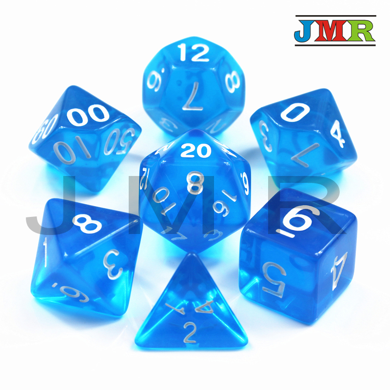 Colorful Transparent 7pcDie Set With Candy Effect Poker Game Dice,Blue Color D&d D4,d6,d8,d10,d12,d20 For Rpg Deskgame