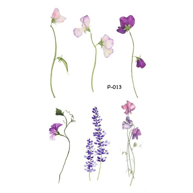 Wyuen Flower Waterproof Temporary Tattoo Stickers for Women on The Body Art Blossom Fake Tattoo 9.8X6cm Translated Tatoo P-029 3