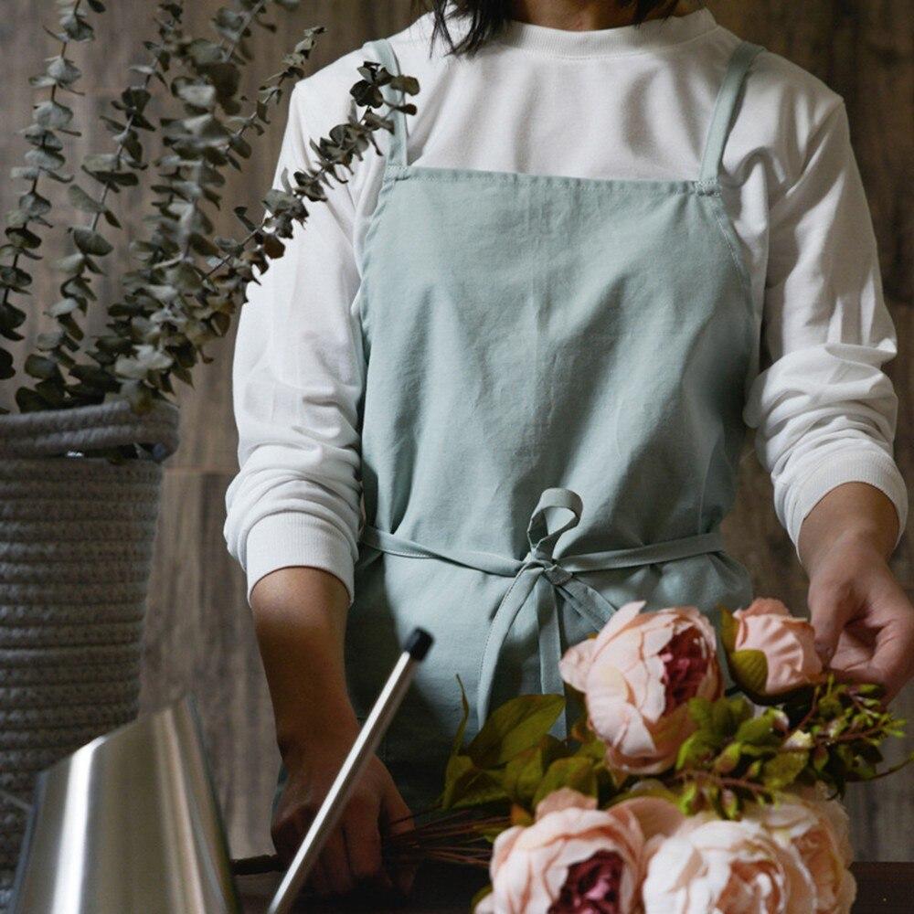 Double Pocket Apron Nordic Style Kitchen Baking Overalls Cotton Sand Wash Apron Cooking Kitchen Household Merchandises|Aprons| |  - title=