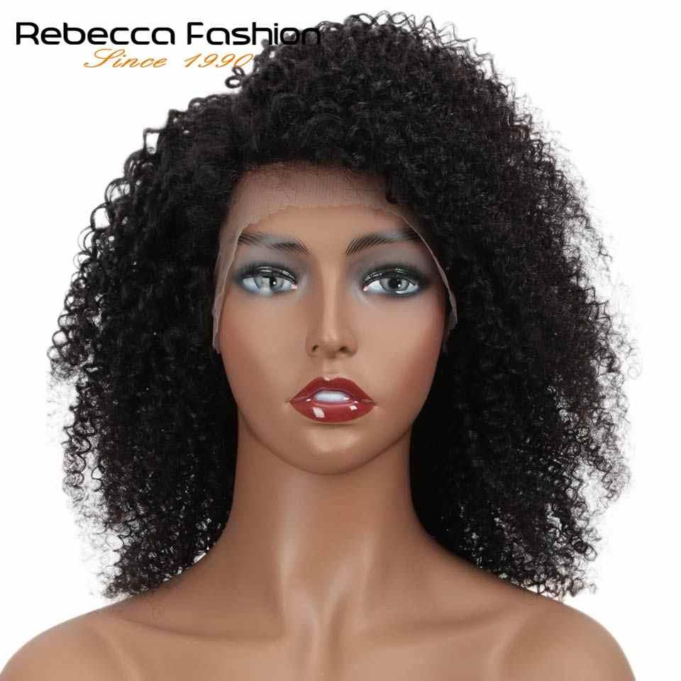 Rebecca koronki przodu peruki z krótkim bobem Afro perwersyjne kręcone ludzkie włosy peruki wstępnie oskubane bielone węzłów Remy brazylijski ludzki koronkowy peruka Y1B #