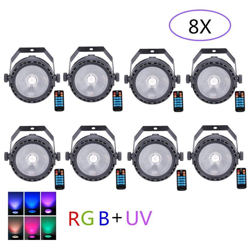 8pcs/lot LED COB Stage Light For Disco DJ Mini LED RGB +UV COB Par Light Wireless Remote Control Wash Wall Effect Stage Lighting