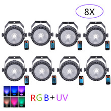 8 Pcs/lot LED COB Lampu Panggung Disco DJ Mini LED RGB + UV COB Par Lampu Remote Kontrol Nirkabel cuci Efek Dinding Panggung(China)