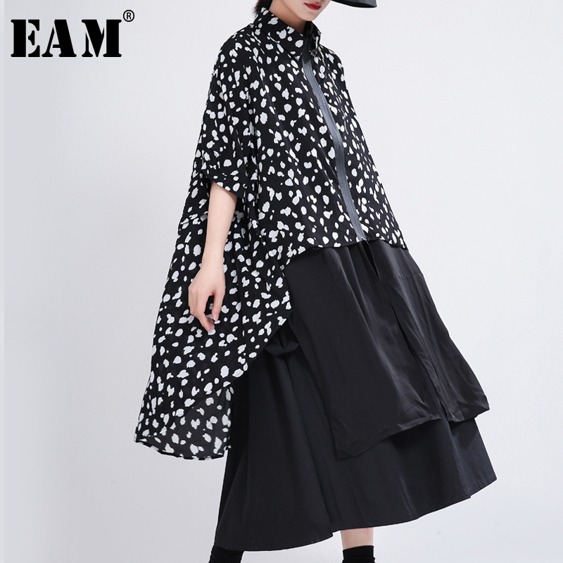 [EAM] Women Black Pattern Printed Big Size Blouse New Lapel Three-quarter Sleeve Loose Shirt Fashion Spring Autumn 2020 1T355