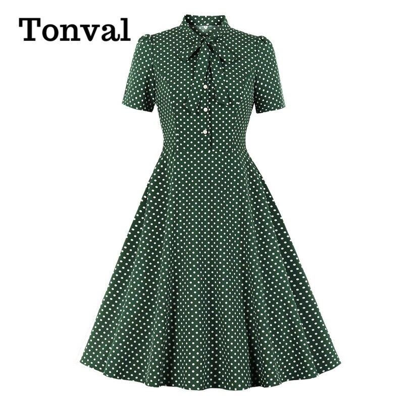Tonval Bow Tie Neck Button Front Polka Dot Pinup 50s Vintage Shirt Dresses Women A-Line Summer Female Elegant Green Dress