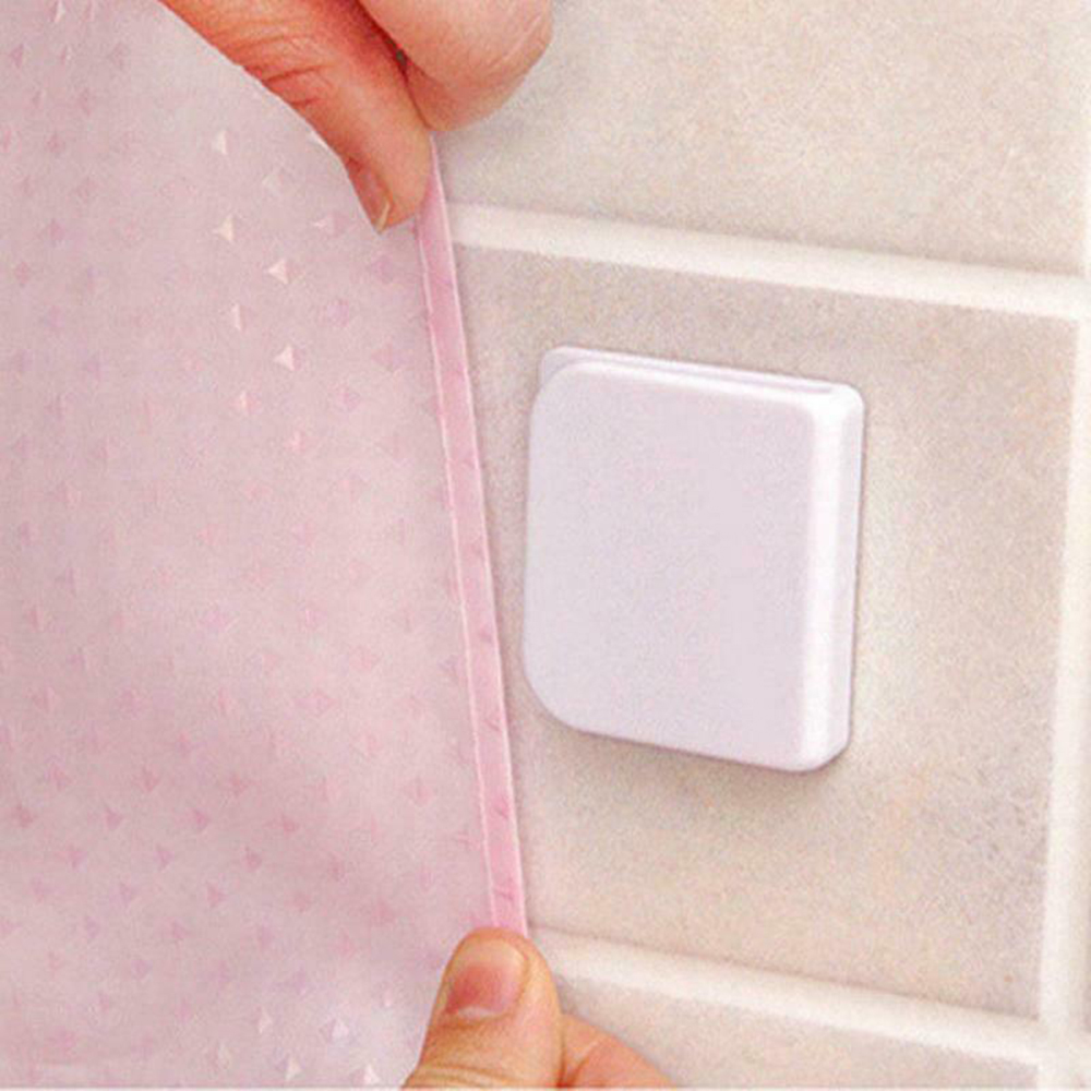Neue 2Pcs 5,0*4,5 cm Klebe Dusche Vorhang Clips Anti Splash Spill Stop Wasser Undicht Schutz Bad Dusche feste Vorhang Schnalle