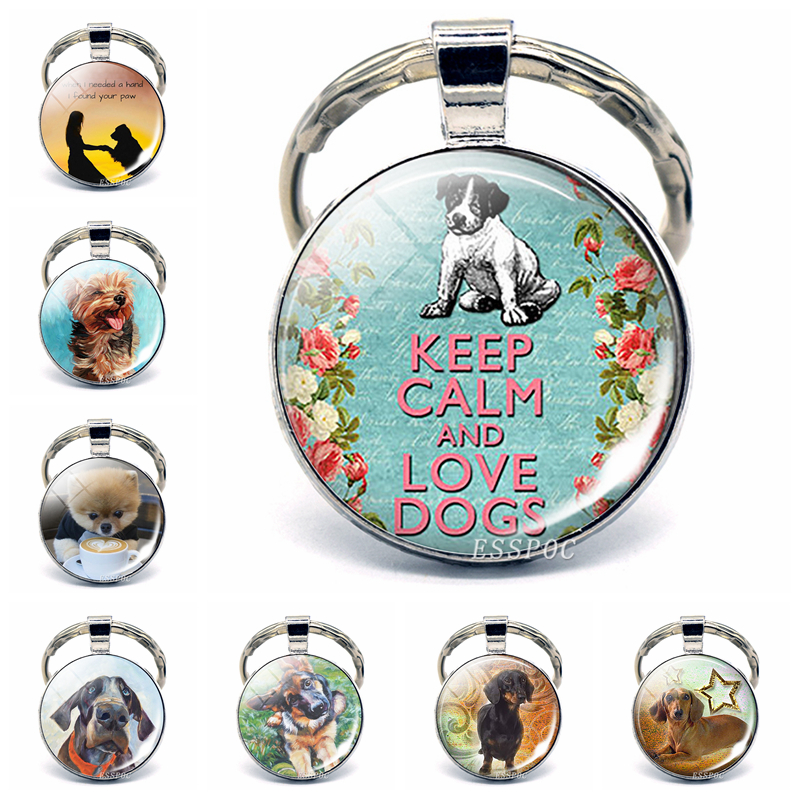 Keep Calm And Love Dog Pendant Glass Cabochon Key Chain Rings Keyfob Bulldog Husky Dachshund Dog Lover Gift