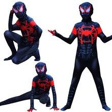 Купить с кэшбэком Halloween Children's costume black Spiderman verses spider Miles Morales Cosplay Costume Zentai Spiderman pattern Body Bodysuits