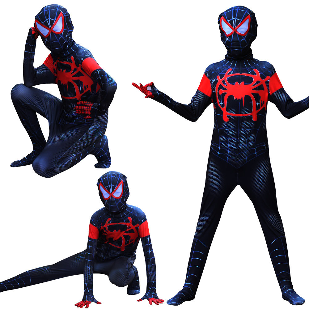Halloween New Children's Costume Spiderman Verses Spider Miles Morales Cosplay Costume Zentai Spiderman Pattern Body Bodysuits