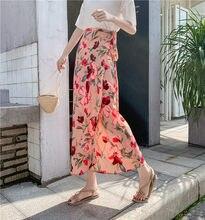 Falda larga de gasa con estampado párr mujer de ropa de Summer ajustada... holgada de R9cintura alta para vacaciones
