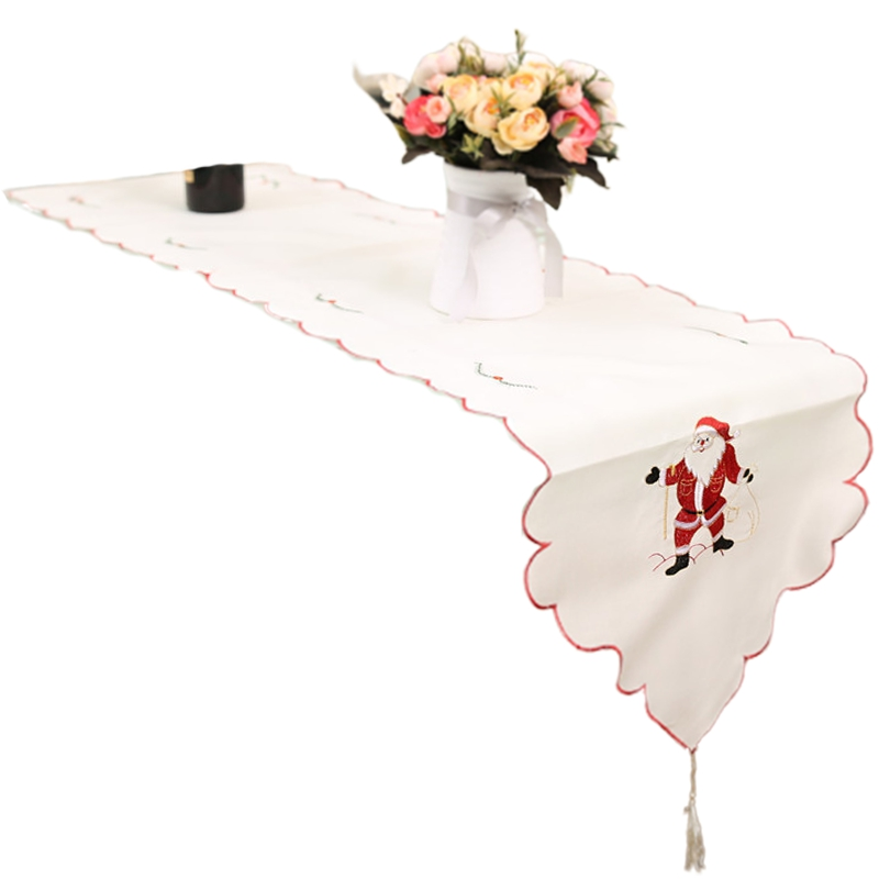 Christmas Decorations Christmas Day Living Room Table Christmas Table Flag Embroidered Openwork Tablecloth CNIM Hot