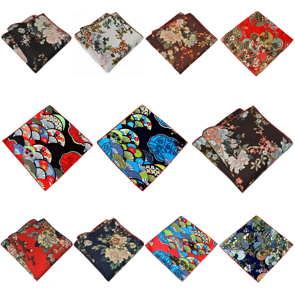 Mens Formal Pocket Square Floral Printed Hanky Party Accessories Handkerchief