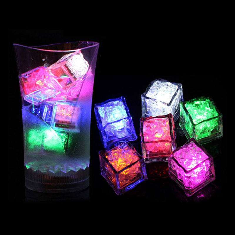 Flash LED Ice Cubes DIY Colorful Party Festival Wedding Xmas Decor LED Drinking Ice Cubes Night Glowing Light LB88