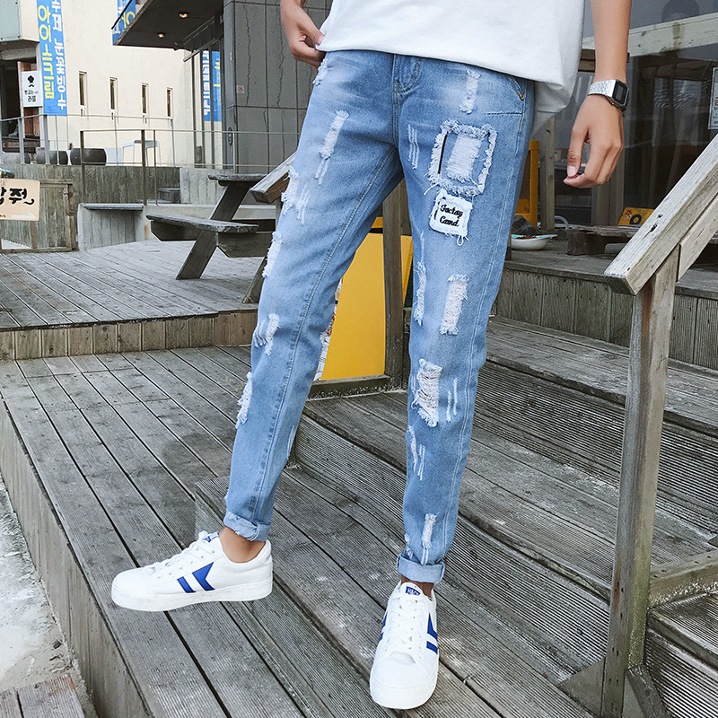 Summer Light Blue Youth Trend Cool With Holes Jeans Men'S Wear Korean-style Slim Fit Beggar Small Feet Long Harem Pants