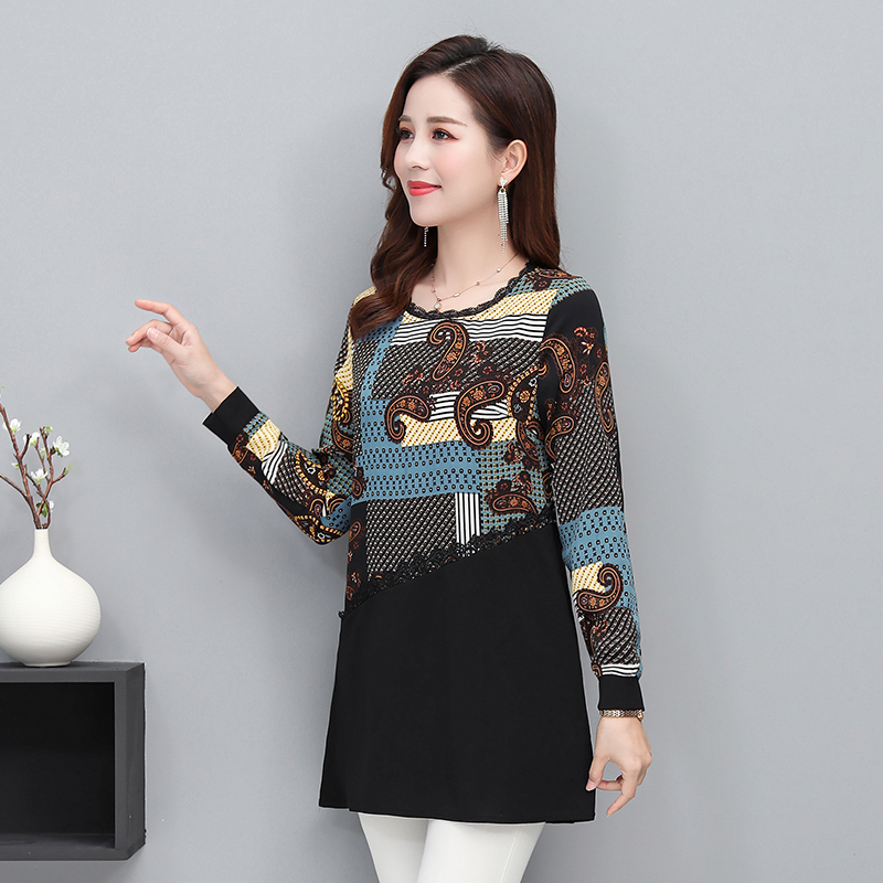 Fashion Women Casual Blouses Red Green Blue Floral Printing Round Collar Plus Size Lace Hem Design Top Female Daily Wear 2020