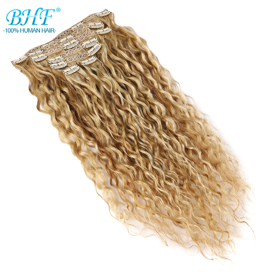 Human-Hair-Extensions Clip-In BHF 105g-110g Colored-Clip Water-Wave Remy Natural Full-Head