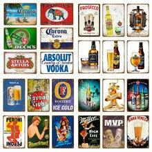 Absolut Vodka signo de Metal placa de Metal Vintage cartel de lata Pub decoración de la pared para Bar Club hombre cueva Placa de estaño Metal cerveza cartel YM013