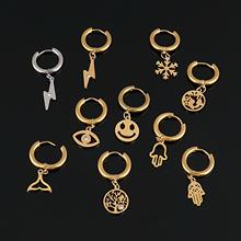 Punk Hoop kolczyki dla kobiet ze stali nierdzewnej stalowe kolczyki mapie magiczne kolczyki kolczyki mapa kolczyki geometryczne kolczyki biżuteria prezent tanie tanio CN (pochodzenie) STAINLESS STEEL Kobiety Kolczyki w kształcie kółek Klasyczny GEOMETRIC Metal moda Hoop Geometry Earrings